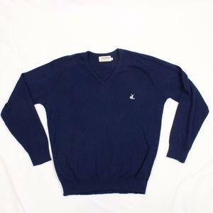 VTG FOXHEAD XL Mens V-Neck Sweater Size 1X Navy